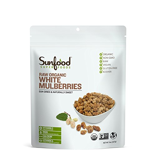 Sunfood Mulberries, White, 8oz, Organic, Raw