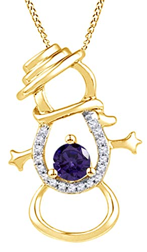 Simulated Alexandrite & Natural Diamond Accent Snowman Pendant Necklace in 14K Yellow Gold Over Sterling Silver