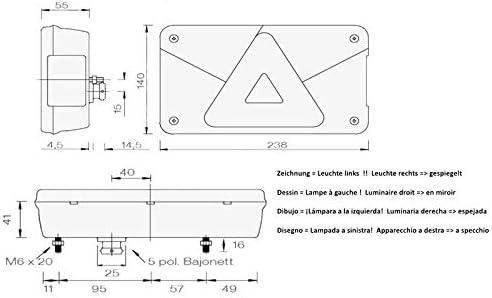 Asp/öck multipoint 5 lumi/ère gauche cpl Avec un l/éger brouillard arri/ère connexion /à ba/ïonnette
