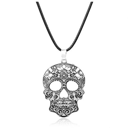 Tebapi Womens Pendant Necklace Fashion Classic Mexican Sugar Skull Necklace Day of The Dead Skeleton Pendant Necklace Men's Charm Jewelry Gifts Silver