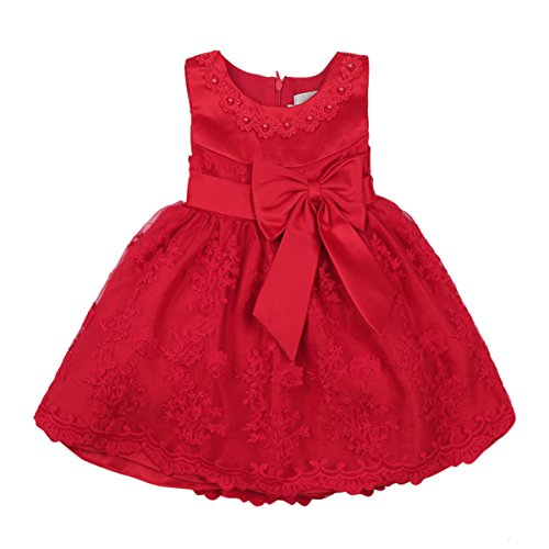 iEFiEL Baby Girls Lace Bowknot Flower Dress Wedding