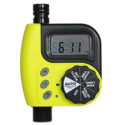KKmoon Irrigation Timer, Automatic Water Timer Outdoor Garden Irrigation Controller 1-Outlet Programmable Hose Faucet Timer Garden Automatic Watering Device Without Battery Yellow