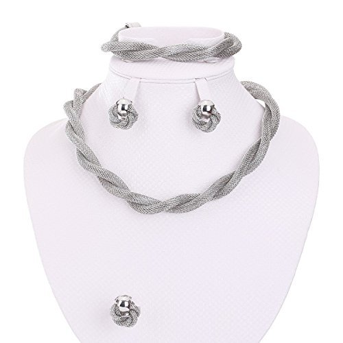 Gray Womens Ring - MOOCHI Africa Style Gold Plated Necklace Earrings Bracelet Ring Jewelry Set (Gray)