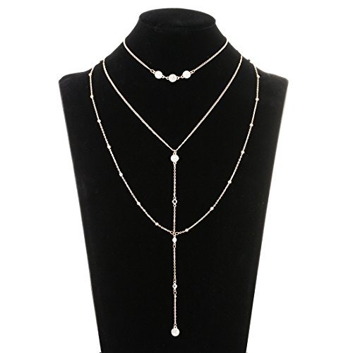 Lariatneck Multilayer Long Necklace Y Shaped Lariat Choker Necklace with Crystal Disc Pendant Necklace Sets