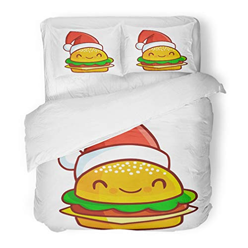 Emvency Bedding Duvet Cover Set King Size (1 Duvet Cover + 2 Pillowcase) Costume Cute and Funny Cheese Burger Wearing Santa's Hat for Christmas and Smiling Hotel Quality Wrinkle and Stain Resistant