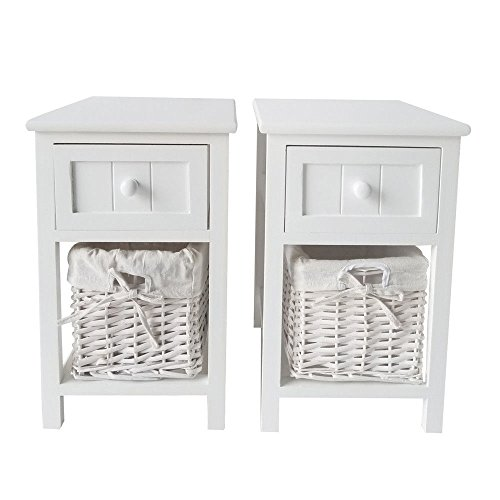 Moon Daughter 2x White Nightstand Wood End Side Bedside Table Storage Bedroom Furniture