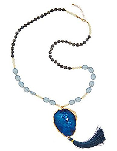 Kevia 18k Gold Plated Geode Slice Pendant Beaded Long Druzy Tassel Necklace (Blue)