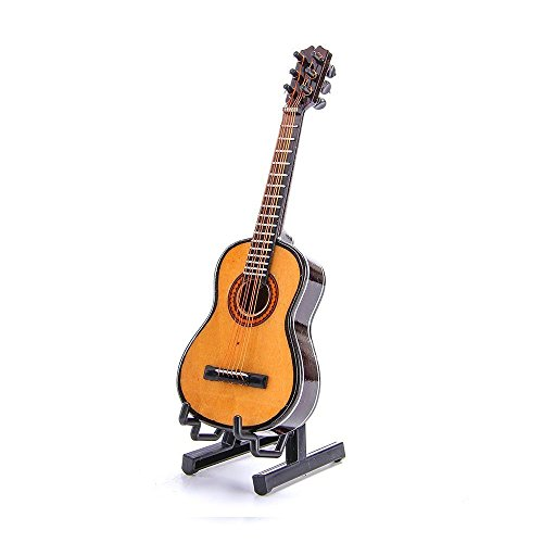 Wooden Maple Mini Ornaments Guitar Musical Instrument Miniature Dollhouse Model Home decoration with Holder( 5.1 inch / 13 CM)