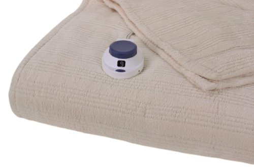 Serta Luxurious Low-Voltage Electric Heated Micro-Plush Triple-Rib Twin Blanket, Ivory