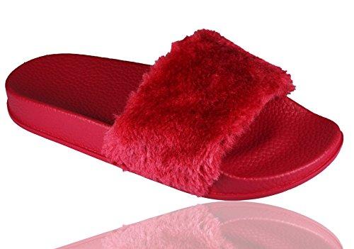 RoMaAn'S IDeal FaShIoN - Zapatillas de estar por casa de piel para mujer Red