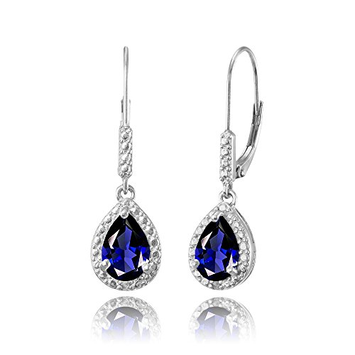 Sterling Silver Created Blue Sapphire Teardrop Dangle Leverback ()