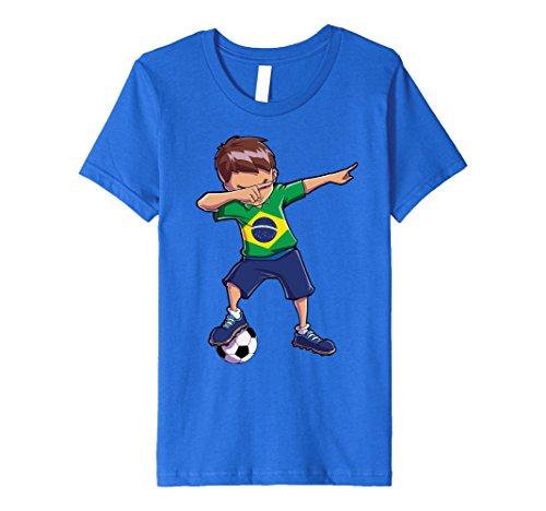 Kids Dabbing Soccer T shirt for Boys Brazil Brazilian Football 4 Royal - Football Shirts Brazil