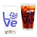CafePress - Blue Greek LOVE - Pint Glass, 16 oz. Drinking Glass