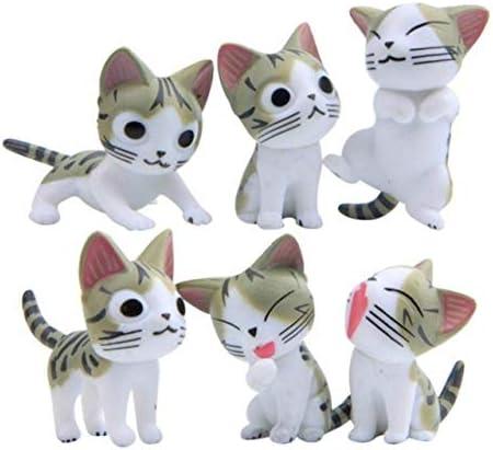 HONIC 6 Piezas de Dibujos Animados Gatos afortunados Micro jardín ...