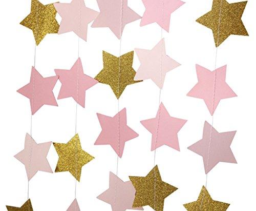 (Mybbshower Blush Pink Gold Glitter Star Garlands for Baby Shower Photo Prop 12 Feets)