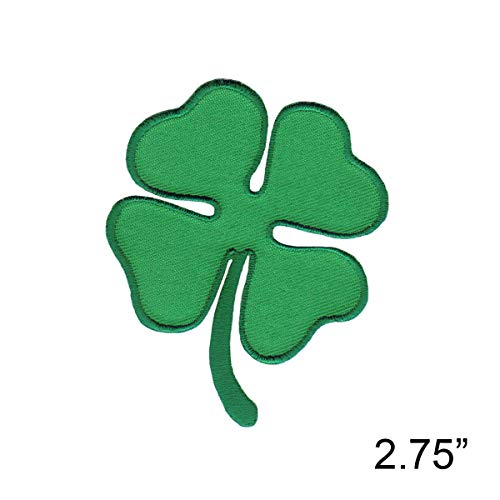 Four 4 Leaf Clover Embroidered Iron On Patch - Plant Luck Irish -