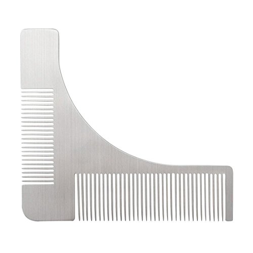 Cestlafit Stainless Steel Beard Styling Comb, Beard Shaping Template Comb Tool For Curve Cut, Step Cut, Neckline, Goatee Beard, Sliver, Beard (Beard With Goatee)
