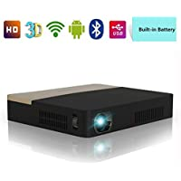 DLP Projector Portable-Wireless Android Projector 1080P With Built in Battery & Bluetooth & 3D Ready, Auto Keystone Correction HD Projector WiFi 1280x800 for Powerpoint Presentation Movie Game Camping