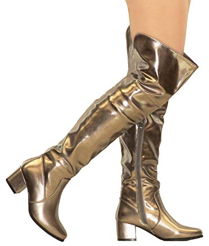 MVE Shoes Womens Over The Knee Stretch Boot - Trendy Low Block Heel Shoe - Comfortable Easy Heel Boot, Pewter Met 5.5