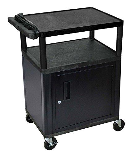LUXOR LP34CE-B Endura 3-Shelf Presentation Cart with Cabinet, Endura 35 1/4