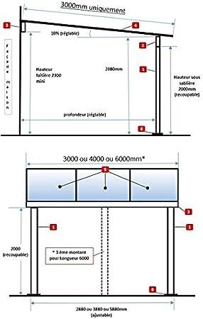 Pérgola de aluminio para fijar al techo, adosada, de policarbonato (10 mm) con canaleta, color gris, color Gris ral 7016, tamaño 3000 x 3000 mm: Amazon.es: Jardín