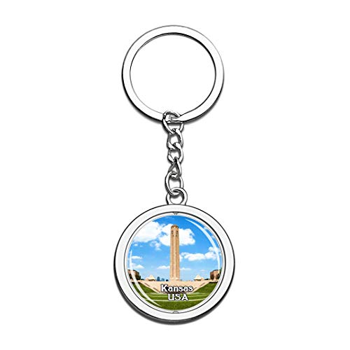 USA United States Keychain National WWI Museum and Memorial Kansas Key Chain 3D Crystal Spinning Round Stainless Steel Keychains Travel City Souvenirs Key Chain Ring -
