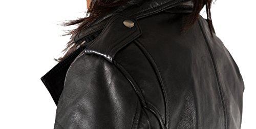 Avec Veste Les Fermeture Cuir Brando Style En Femmes Motard Žlžgante ˆ Latžrale Glissire Noir Vžritable Court 4vrvIqgwPx
