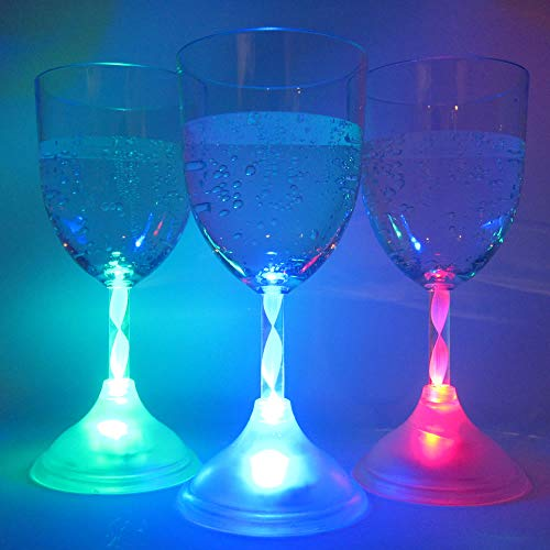 Light Up Wine Glasses (Set of 6) - 11 oz Glowing LED Wine Glasses with 8 Color Modes ()