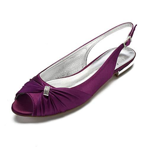 Peep Satin Toe MarHermoso Slingback Flats Shoes Violett Damen wtAnUqnIB