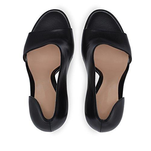 XUE Women's Shoes Stretch Satin Summer Basic Pump Wedding Shoes Stiletto Heel Peep Toe Buckle Dark Black Brown Party & Evening/Dress Formal Business Work Wedding (Color : B, Size : 34) A