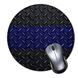HERO Mouse Pad Police Thin Blue line Diamond Plate Design Mousepad Non-Slip Rubber Gaming Mouse Pad Round Mouse Pads for Computers Laptop