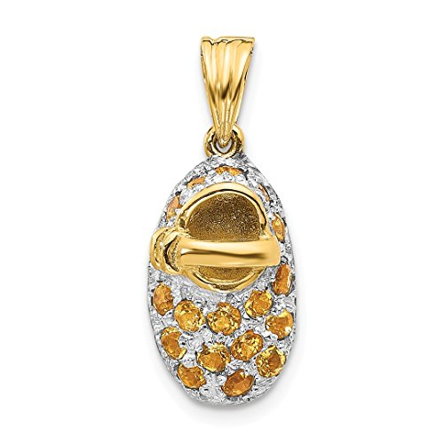 ICE CARATS 14kt Yellow Gold Prong Set November/citrine Baby Shoe Pendant Charm Necklace Birthstone Fine Jewelry Ideal Gifts For Women Gift Set From Heart 14kt Gold Baby Shoe Jewelry