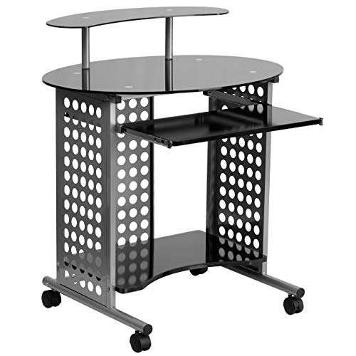 Flash Furniture Cassini Mobile Computer Desk with Black Glas