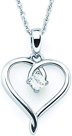 .925 Sterling Silver Birthstone Heart Pendant...