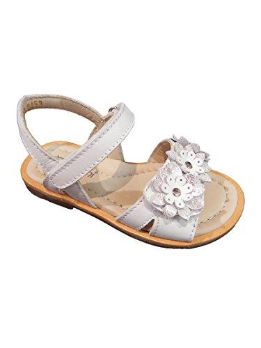 Bianco Fiori Pelle In Mainapps Sandalo Balocchi Velcro Chiusura Con 5qxwp4W60R