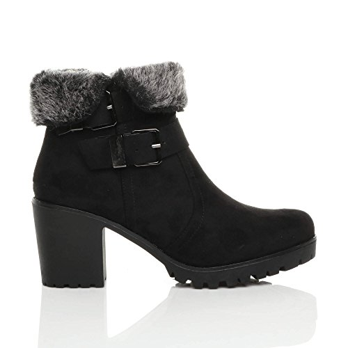 Size Suede Booties Ajvani Womens Winter Boots Ankle Biker Ladies Block Black Heel Lined mid Fur 7wZwx6