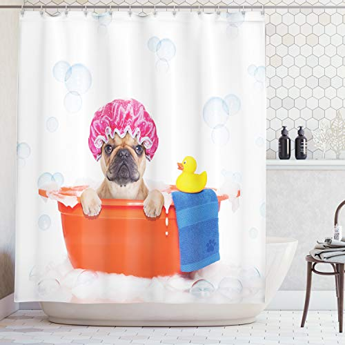 Ambesonne Cute Dog in Bathroom with Rubber Duck Having a Bath Print Lover Funny Home Decorations for Bathroom Art Prints Kids Dogs Decor Polyester Fabric Fun Shower Curtain, Orange Pink