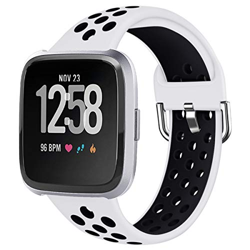 LUCXXI Sport Bands Compatible with Fitbit Versa, Large Small Woman Man Silicone Replacement Strap Breathable Accessories Wristband with Ventilation Holes for Fitbit Versa/Versa Lite Edition Watch (Best Cheap Fitbit Alternative)