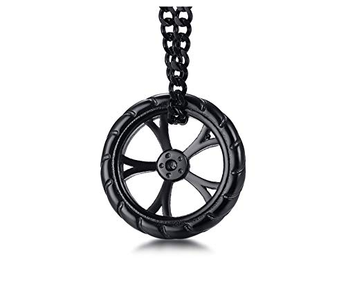 XUANPAI Stainless Steel Geometry Mens Necklace Wheel Design Pendant Mandala Buddhist Jewelry,Black