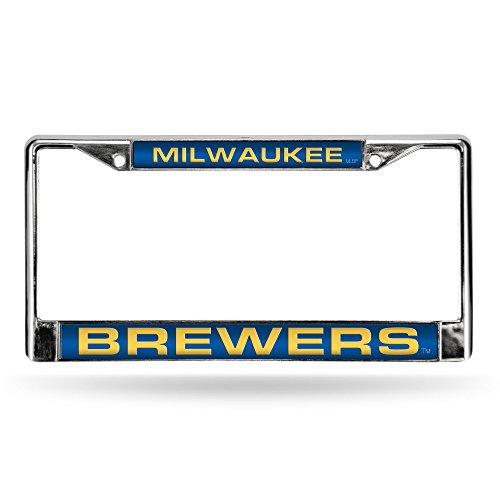 MLB Milwaukee Brewers Laser-Cut Chrome Auto License Plate Frame