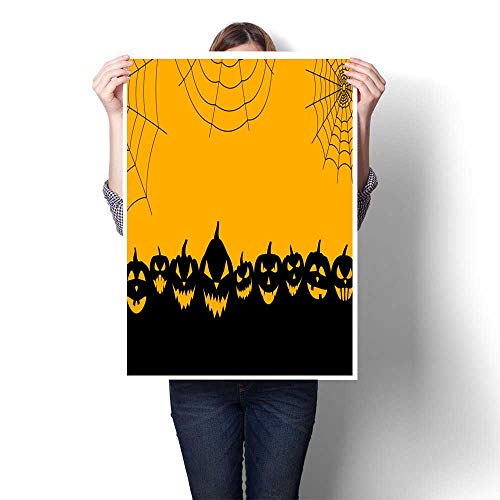 Home Decor Halloween Background with Pumpkin Faces Decorative