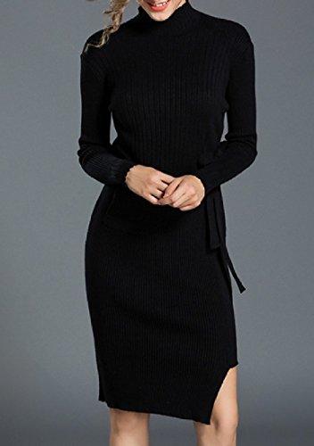 Coolred Femmes Mi-longueur Découpe En Tricot Robes Ajustement Pull Asymétrique Noir