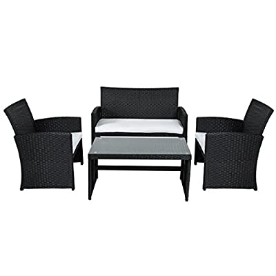 Best Choice Products 4 Piece Outdoor Garden Patio Cushioned Seat Mix Wicker Sofa Furniture Set