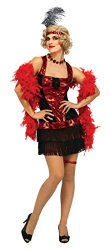 Rubie's Costume Deluxe Adult Speakeasy Flapper Costume, Black/Red, One Size - Speakeasy Flapper Costume