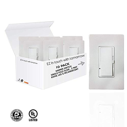 ((10 PACK) Single Pole Slide, Dimmer Switch, 3-Way 600W, Screwless Wall Plate, LED And Incandecent (No Plate Included))