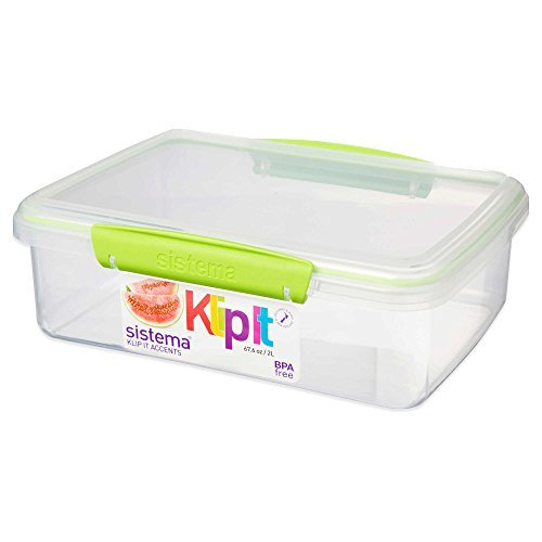 Sistema Klip It Accents Collection Food Storage Container 67.6 oz/2 Liters in Green (Set of 3)