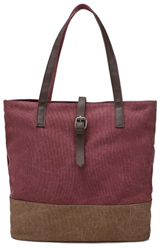 Bag DCCN Beach Tote Brown Canvas Shopper Red Women's C zCXCFBqU