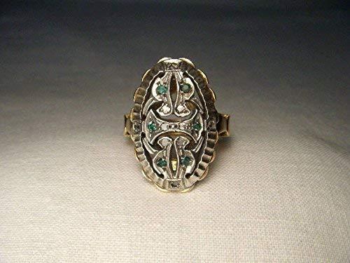 Antique Victorian 14K Yellow Gold Emerald Diamond Filigree Ring