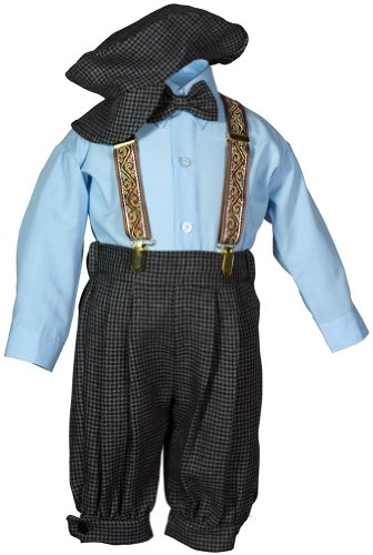 Baby Toddlers Vintage Knickers Set Suspenders & Hat Charcoal Grey Weave
