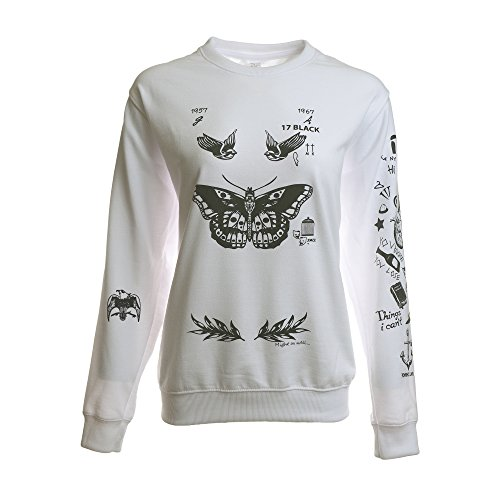 Noonew Women's Butterfly Tattoos Sweatshirt White Small Shirt